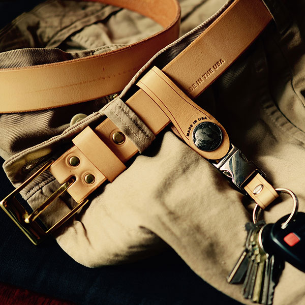 Khaki Belt and Key Fob